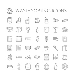 Set of garbage separation recycling related waste vector image
