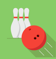 the bowling ball is moving toward the pin play of vector image vector image