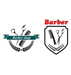 Barber Shop emblems or labels vector image vector image
