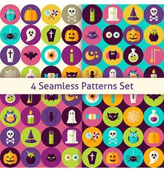 Four Flat Halloween Party Patterns Set with vector image vector image