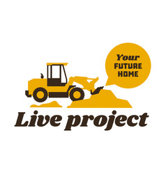 logo front loader construction equipment at work vector image vector image