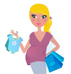 pregnant mother shopping vector image