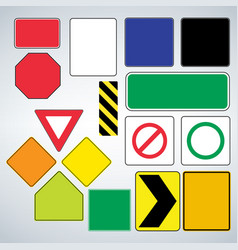 set of road signs templates make your own road vector image