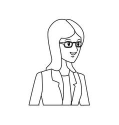 beautiful student girl character avatar image vector image