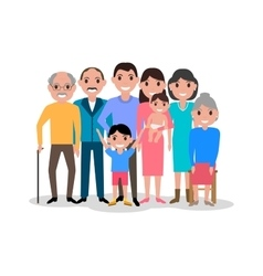 Cartoon happy family Big lovely family portrait vector image vector image