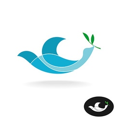 Dove of peace with olive brand colorful overlay vector image