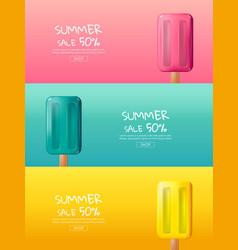 Hot summer sale cartoon colorful ice cream vector