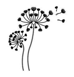 black silhouette flying blow dandelion buds vector image