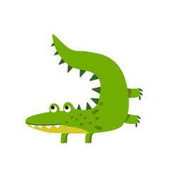 funny cartoon crocodile character friendly vector image