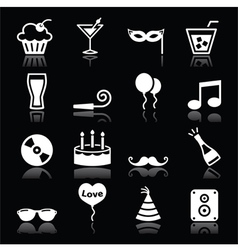 Party icons set - birthday New Years Christmas vector image