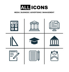 set of 9 education icons includes haversack home vector image vector image