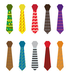 Set of multicolored ties with different patterns vector