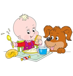 toddler and pup at dinner vector image vector image