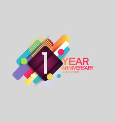 1 year anniversary colorful design with circle vector