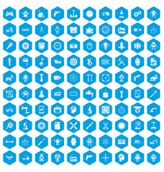 100 gear icons set blue vector