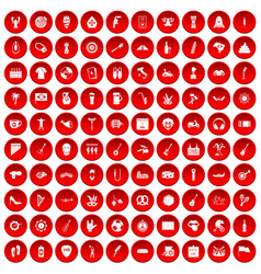 100 street festival icons set red vector
