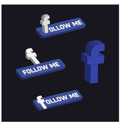 3d facebook follow me button vector