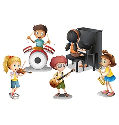 A group of talented kids vector image