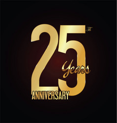anniversary golden sign 25 years vector image