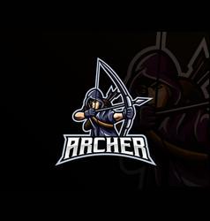 archer mascot sport logo design vector image