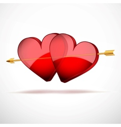 Background Two Hearts and arrow Valentines Day vector