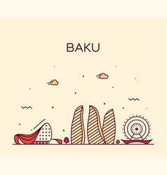 baku skyline azerbaijan city linear style vector image