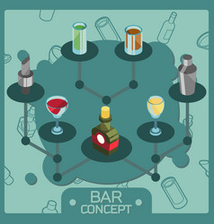 bar color isometric concept icons vector image