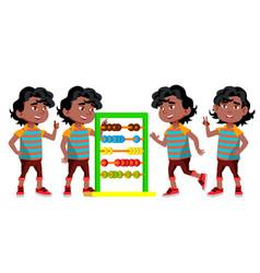 black afro american kindergarten kid poses vector image
