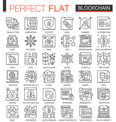 Blockchain outline mini concept symbols bitcoin vector