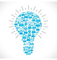 blue people team make bulb shape vector image