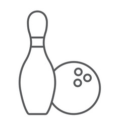 bowling thin line icon game and sport bowling vector image