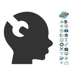 Brain Wrench Tool Icon With Copter Tools Bonus vector