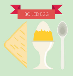 Breakfast soft boiled eggs simple flat design vector