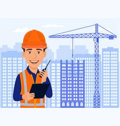 builder civil engineer smile cartoon character vector image