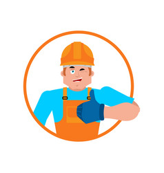 builder thumbs up worker in protective helmet vector image