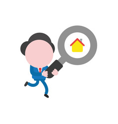 Businessman character running and carrying vector