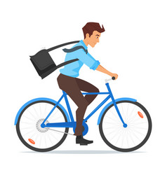 businessman riding on the bike vector image