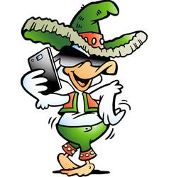 Cartoon of a happy mexican duck talking in vector