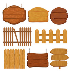 Cartoon wooden garden fence blank wood banners vector