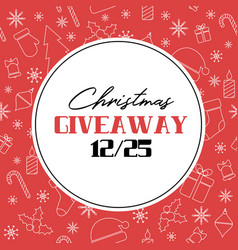 christmas giveaway card on red background vector image
