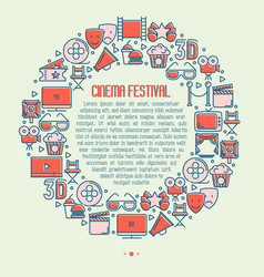 cinema festival concept in circle vector image