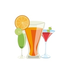 cocktails drinks icons vector image