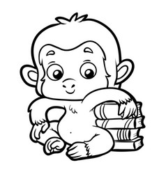 Coloring book monkey and books vector