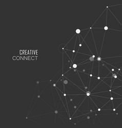 Connection white dots and lines science background vector