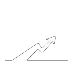 Continuous one line arrow go up vector