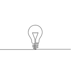 continuous one line bulb - symbol idea vector image