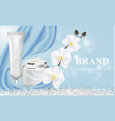 cosmetic banner with 3d realistic bottles for vector image