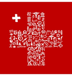 Cross shape with medical icons for your design vector image