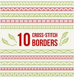 Cross-stitch embroidery - set borders vector
