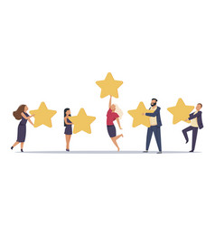 Customer rating flat people with stars review vector
